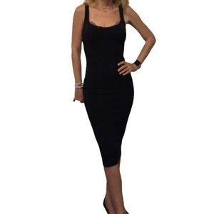 Zara W&D Collection Black Ribbed BodyCon Dress S